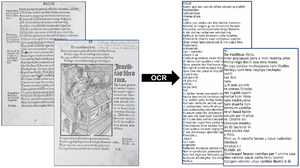 representation of the OCR process. On the left: The original scans as a grayscale image. On the left: The digital Text.